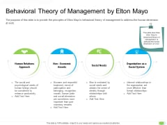 Key Competencies For Organization Authorities Behavioral Theory Of Management By Elton Mayo Infographics PDF