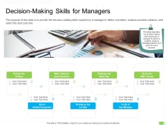 Key Competencies For Organization Authorities Decision Making Skills For Managers Ideas PDF