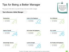 Key Competencies For Organization Authorities Tips For Being A Better Manager Sample PDF