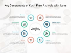 Key Components Of Cash Flow Analysis With Icons Ppt PowerPoint Presentation Icon Backgrounds