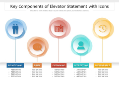 Key Components Of Elevator Statement With Icons Ppt PowerPoint Presentation File Visuals PDF