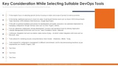 Key Consideration While Selecting Suitable Devops Tools Infographics PDF
