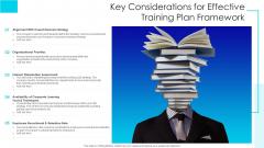 Key Considerations For Effective Training Plan Framework Ppt Ideas Templates PDF