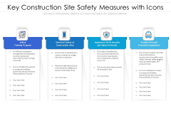 Key Construction Site Safety Measures With Icons Ppt PowerPoint Presentation Summary Clipart PDF