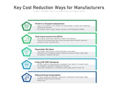 Key Cost Reduction Ways For Manufacturers Ppt PowerPoint Presentation File Example PDF