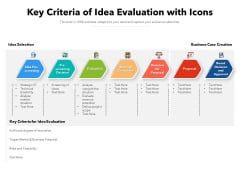 Key Criteria Of Idea Evaluation With Icons Ppt PowerPoint Presentation Gallery Shapes PDF