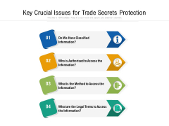 Key Crucial Issues For Trade Secrets Protection Ppt PowerPoint Presentation File Design Templates PDF