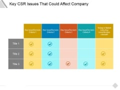 Key Csr Issues That Could Affect Company Ppt PowerPoint Presentation Slide Download