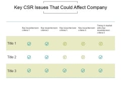 Key Csr Issues That Could Affect Company Ppt PowerPoint Presentation Visual Aids