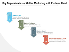 Key Dependencies Or Online Marketing With Platform Used Ppt PowerPoint Presentation Gallery Visual Aids PDF