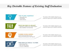 Key Desirable Features Of Existing Staff Evaluation Ppt PowerPoint Presentation Styles Portrait PDF