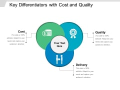 Key Differentiators With Cost And Quality Ppt PowerPoint Presentation Infographics Portrait PDF
