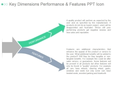 Key Dimensions Performance And Features Ppt PowerPoint Presentation Infographic Template