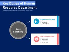 Key Duties Of Human Resource Department Ppt PowerPoint Presentation Styles Skills PDF