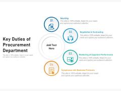 Key Duties Of Procurement Department Ppt PowerPoint Presentation Gallery Slide Portrait PDF