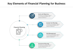 Key Elements Of Financial Planning For Business Ppt PowerPoint Presentation Gallery Visuals PDF