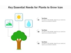 Key Essential Needs For Plants To Grow Icon Ppt PowerPoint Presentation Gallery Deck PDF