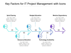 Key Factors For IT Project Management With Icons Ppt PowerPoint Presentation Icon Picture PDF
