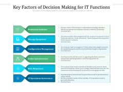 Key Factors Of Decision Making For IT Functions Ppt PowerPoint Presentation File Samples PDF