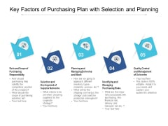 Key Factors Of Purchasing Plan With Selection And Planning Ppt PowerPoint Presentation File Graphics Tutorials PDF