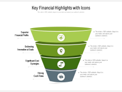 Key Financial Highlights With Icons Ppt PowerPoint Presentation Gallery Example PDF