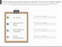 Key Findings Business Report Example Powerpoint Slide Clipart