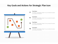 Key Goals And Actions For Strategic Plan Icon Ppt PowerPoint Presentation Gallery Styles PDF
