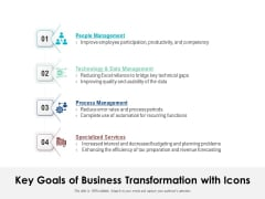 Key Goals Of Business Transformation With Icons Ppt PowerPoint Presentation Model Design Ideas PDF