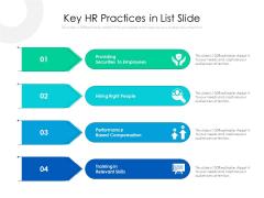 Key HR Practices In List Slide Ppt PowerPoint Presentation File Styles PDF