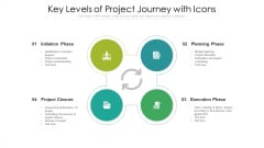 Key Levels Of Project Journey With Icons Ppt Inspiration Format PDF