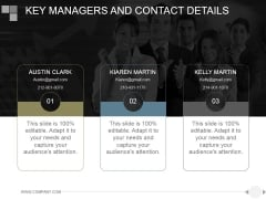 Key Managers And Contact Details Ppt PowerPoint Presentation Slide Download
