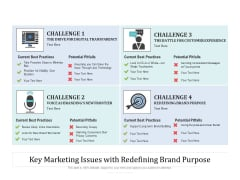 Key Marketing Issues With Redefining Brand Purpose Ppt PowerPoint Presentation Gallery Icon PDF