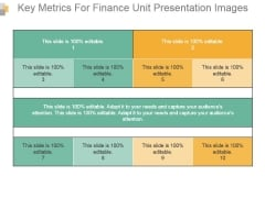 Key Metrics For Finance Unit Presentation Images