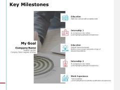Key Milestones Internship Ppt PowerPoint Presentation Summary Layouts