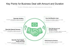 Key Points For Business Deal With Amount And Duration Ppt PowerPoint Presentation File Example File PDF
