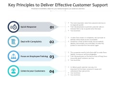 Key Principles To Deliver Effective Customer Support Ppt PowerPoint Presentation Gallery Gridlines PDF