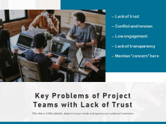 Key Problems Of Project Teams With Lack Of Trust Ppt PowerPoint Presentation Icon Slides PDF