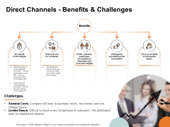 Key Product Distribution Channels Direct Channels Benefits And Challenges Ppt Inspiration Guide PDF