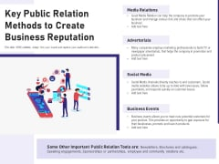 Key Public Relation Methods To Create Business Reputation Ppt PowerPoint Presentation Outline Example PDF