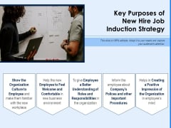 Key Purposes Of New Hire Job Induction Strategy Ppt PowerPoint Presentation File Designs Download PDF