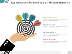 Key Questions For Developing A Mission Statement Ppt PowerPoint Presentation Clipart