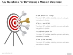 Key Questions For Developing A Mission Statement Ppt PowerPoint Presentation Gallery