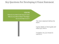 Key Questions For Developing A Vision Statement Ppt PowerPoint Presentation Slides