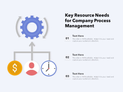 Key Resource Needs For Company Process Management Ppt PowerPoint Presentation Diagram Templates PDF