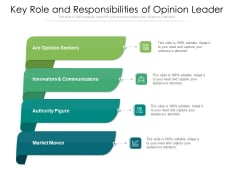 Key Role And Responsibilities Of Opinion Leader Ppt PowerPoint Presentation Gallery Templates PDF