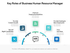 Key Roles Of Business Human Resource Manager Ppt PowerPoint Presentation Gallery Introduction PDF