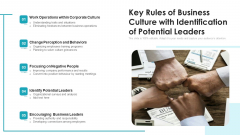 Key Rules Of Business Culture With Identification Of Potential Leaders Ppt PowerPoint Presentation Gallery Sample PDF