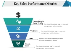Key Sales Performance Metrics Ppt PowerPoint Presentation Icon Design Templates