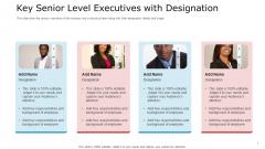 Key Senior Level Executives With Designation Slides PDF