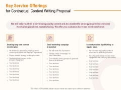Key Service Offerings For Contractual Content Writing Proposal Ppt PowerPoint Presentation Summary Portrait PDF